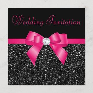 Faux Black Sequins Hot Pink Bow Wedding Invitations