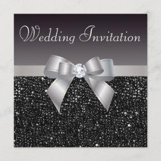 Faux Black Sequins, Silver Bow & Diamond Wedding Invitation