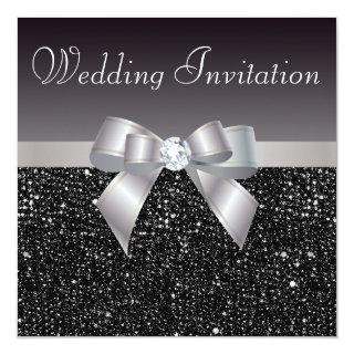Faux Black Sequins, Silver Bow & Diamond Wedding Invitations