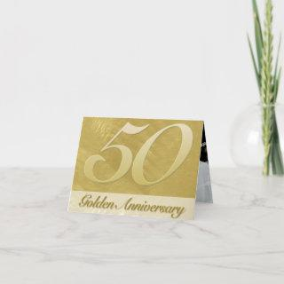 Faux Brushed Metal Golden (50th) Anniversary Invitation