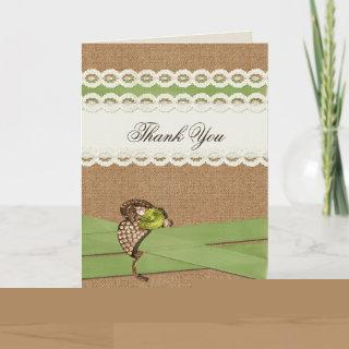 FAUX burlap and lace lime country wedding Thank You Card