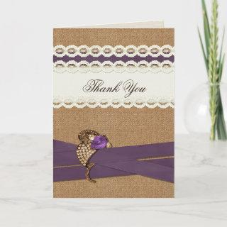 FAUX burlap and lace purple country wedding Thank You Card
