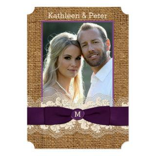 FAUX Burlap Lace Bow PHOTO Wedding Invite, Purple Invitation