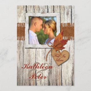 FAUX Burlap, Wood, Leaves, Heart PHOTO Wedding Invitations