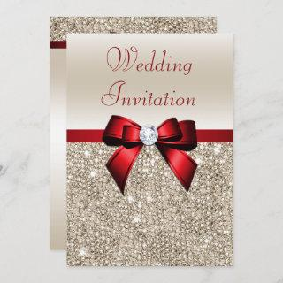 Faux Champagne Sequins Red Bow Wedding Invitation