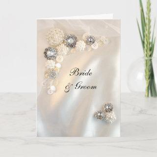 Faux Diamond and White Pearl Buttons Wedding Invitation