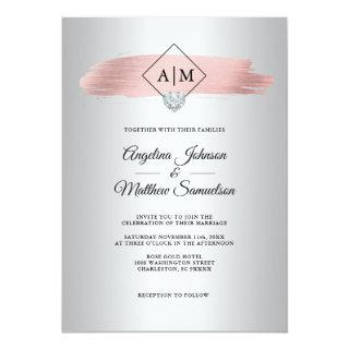Faux Dusty Rose Gold Foil Silver Monogram Wedding Invitation