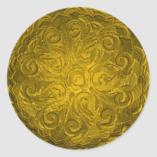 Faux Embossed Look Ornate Seal, Gold Classic Round Sticker