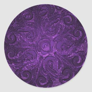 Faux Embossed Look Ornate Seal, Purple Classic Round Sticker