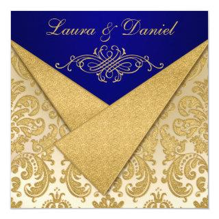 FAUX FLAPS Blue, Gold Damask Reception Invite