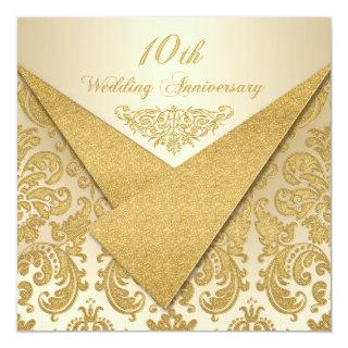 FAUX Flaps Damask 10th Anniversary Invitations