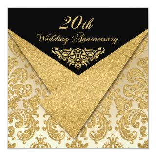 FAUX Flaps Damask 20th Anniversary Invitations
