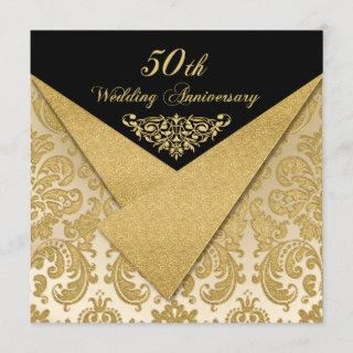 FAUX Flaps Damask 50th Anniversary Invitations 2