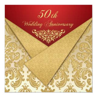 FAUX Flaps Gold Damask 50th Anniversary Invitations
