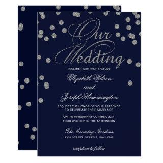 FAUX Glitter confetti navy and silver wedding Invitations