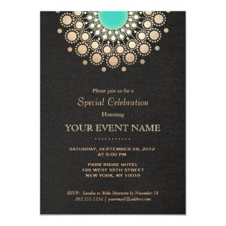 Faux Gold and Turquoise Circle Mandala Black Invitations