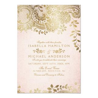 Faux gold blush elegant vintage lace wedding invitation
