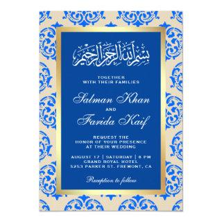 Faux Gold Foil Blue Damask Islamic Muslim Wedding Invitation