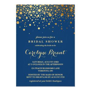 Faux Gold Foil Confetti | Navy Bridal Shower Invitation