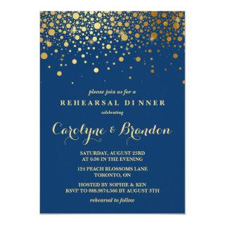 Faux Gold Foil Confetti | Navy Rehearsal Dinner Invitations
