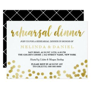 Faux Gold Foil Confetti | Rehearsal Dinner Invitation