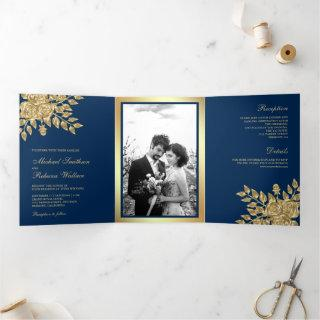 Faux Gold Foil Leaves Floral Navy Blue Wedding Tri-Fold Invitations
