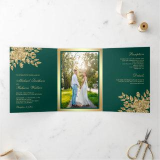 Faux Gold Foil Leaves Floral Teal Green Wedding Tri-Fold Invitation