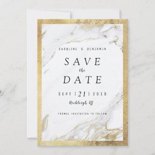 Faux gold foil marble luxury modern save the date