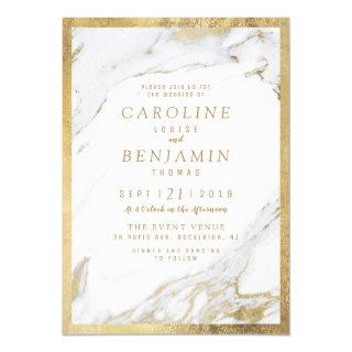 Faux gold foil marble luxury modern wedding invitation