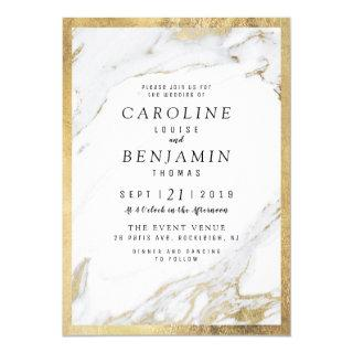 Faux gold foil marble luxury modern wedding Invitations