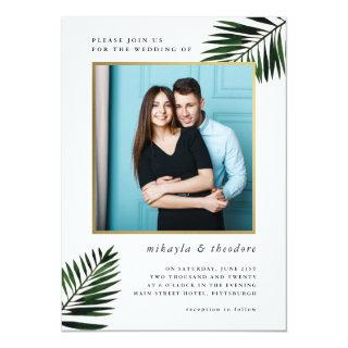 Faux Gold Frame with Palm Photo Wedding Invitations