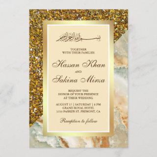 Faux Gold Glitter Brown Marble Muslim Wedding Invitation