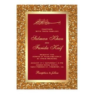 Faux Gold Glitter Red Islamic Muslim Wedding Invitations