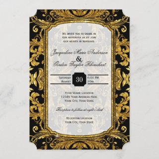 Faux Gold Glitter Ticket Style Vintage Typography Invitation