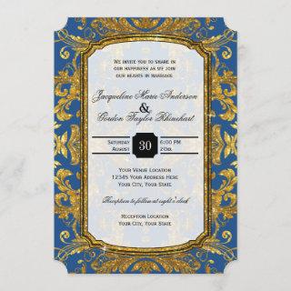Faux Gold Glitter Ticket Style Vintage Typography Invitations