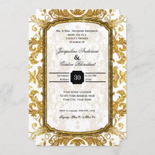 Faux Gold Glitter Ticket Vintage Couples Shower Invitation