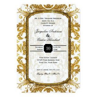 Faux Gold Glitter Ticket Vintage Couples Shower Invitations