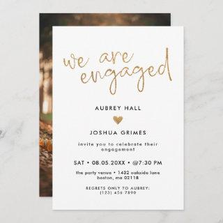 Faux Gold Handwriting We Are Engaged Photo Invitation