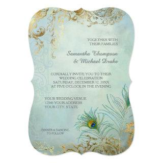 Faux Gold Leaf Peacock Feathers Elegant Wedding Invitations