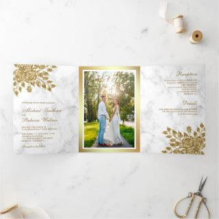 Faux Gold Leaves Floral White Marble Wedding Tri-Fold Invitation
