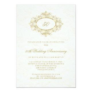 Faux Gold on Creamy White 50th Wedding Anniversary Invitations