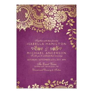 Faux gold purple elegant vintage lace wedding invitation