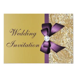 Faux Gold Sequins Purple Bow Wedding Invitations