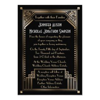 Faux Gold Shaded Art Deco Wedding Invitations