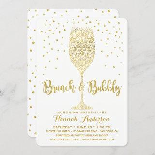 Faux Gold & White Brunch & Bubbly Bridal Shower Invitations
