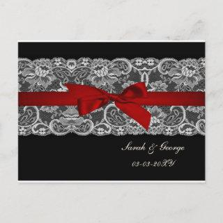 Faux lace and ribbon red, black  save the date announcement postcard