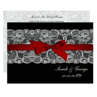 Faux lace and ribbon red black  wedding invites