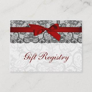 Faux lace  ribbon red, black  gift registry cards