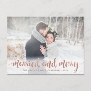 Faux Rose Gold Christmas Photo   Married and Merry Holiday Postcard