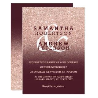 Faux Rose gold glitter burgundy ombre wedding Invitations